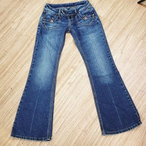 REWIND DARK BLUE DENIM JEANS DOUBLE STITCH  size 3